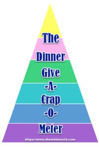 dinner give a crap o meter text overtop a food pyramid
