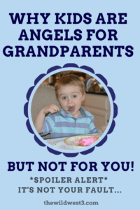 kid being an angel for grandparents while eating cake