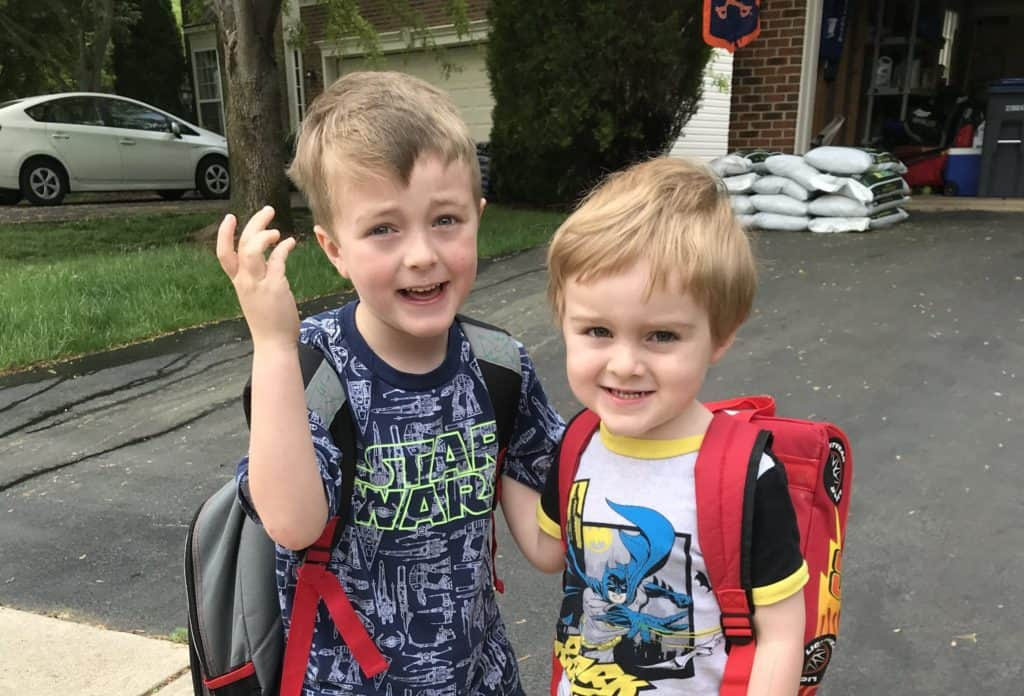 Back to school survival tips featured image: 2 boys getting ready for Kindergarten and Preschool