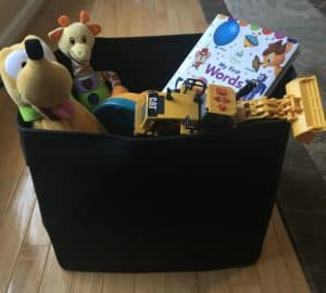 DIY Advent calendar ideas for kids - a bpx filled with toy donations