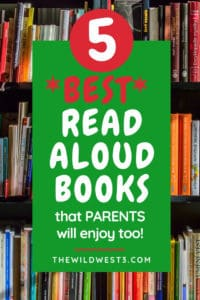 stacks of picture books for read aloud with text overlay