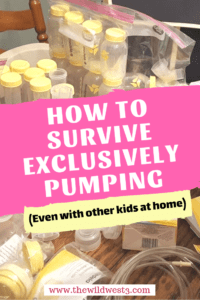 Exclusive pumping survival tips text printed over a Medela pump and supplies.