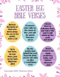 Easy Easter Egg Bible Verse for memorization -- Free printables to help kids memorize these Easter scripture verses. A great way to celebrate Easter with kids in a Biblical way.
