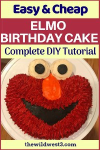 Pinterest pin image with Elmo birthday cake and the words easy and cheap cake tutorial