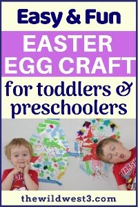 pin image for the easter crafts post with a toddler and preschooler image