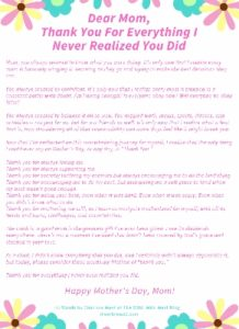 Mother's Day letter from Daughter Printable smaller file