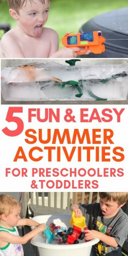 These summer activities for toddlers and preschoolers to do at home are a perfect way to make summer easy and fun (and cheap!). For indoor and outdoor DIY family fun, check out the post.