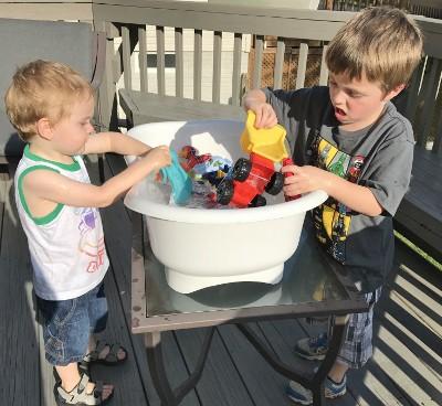 Truck wash summer activity for preschooler and toddler