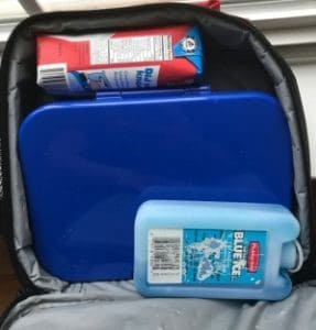 best kindergarten lunchbox pictured inside a bag with milk and icepack