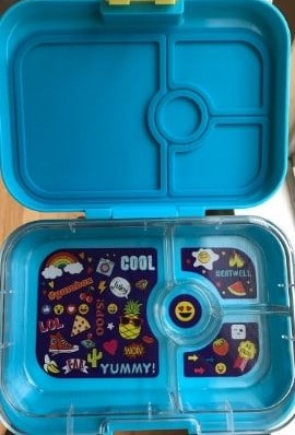 different kindergarten lunchbox open with bigger compartments