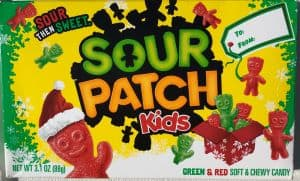 sour patch kids container to be part of the non toy christmas gift movie outing