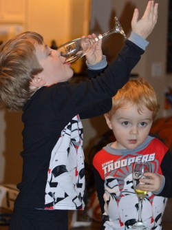 2 Kids Doing Toasts and Making New Year's Resolutions for Kids