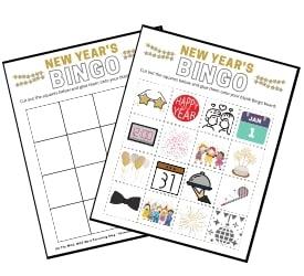 New Years Printable Bingo Activity for Kids