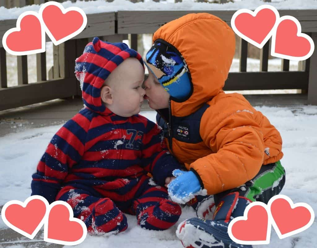 Valentine's Day Bible Verses for Kids Featured Image with two brothers