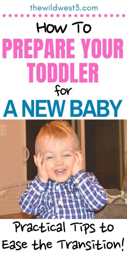 tips for preparing toddler for a new baby pin image