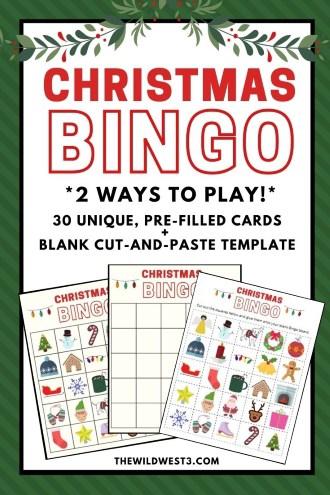 Christmas Bingo Game Printable for Kids Pin Image