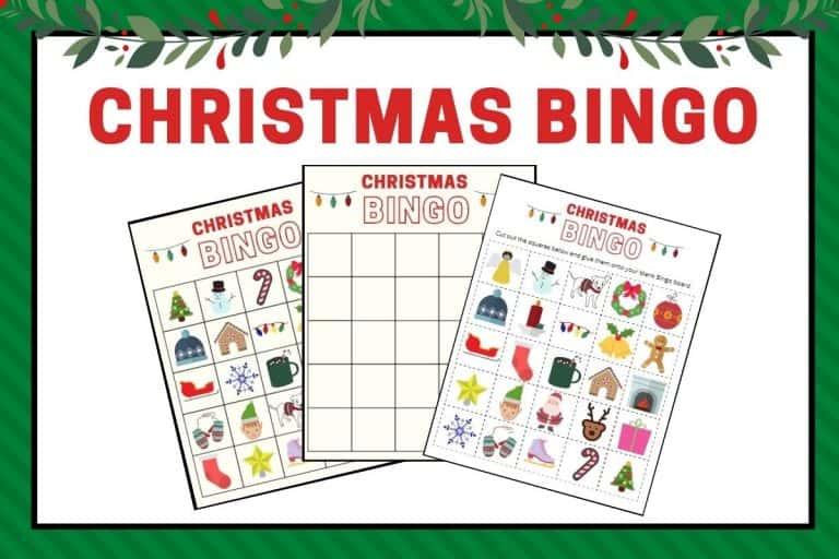 Christmas Bingo Game Printables – 30 Unique Christmas Bingo Cards + Optional Cut and Paste Board
