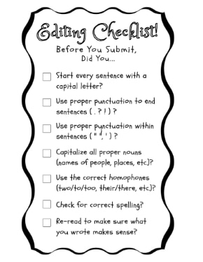 Editing and Proofreading Checklist for Elementary Students smallest version