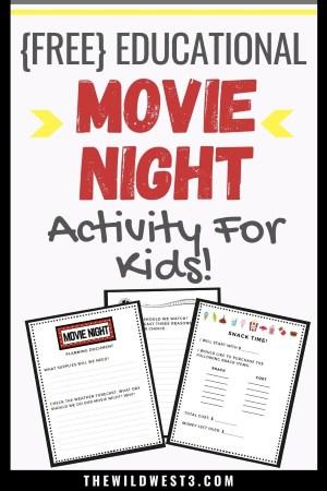 Educational Movie Night Activity Free Printable Pin image