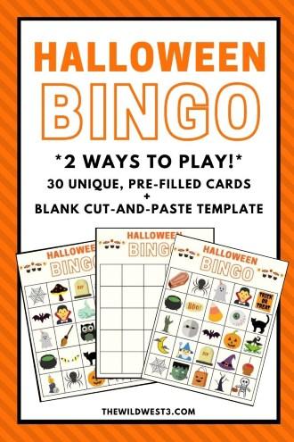 Halloween Bingo Game Printables for Kids Pin Image