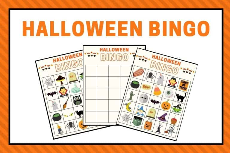Halloween Bingo Game Printables For Kids- Pre-Filled Bingo Cards + Optional Cut and Paste Board