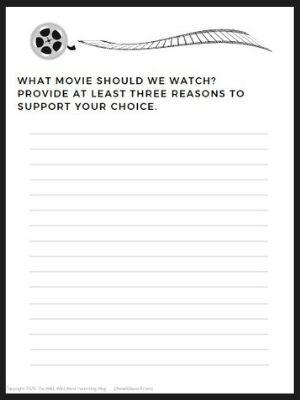Movie night writing activity small version printable