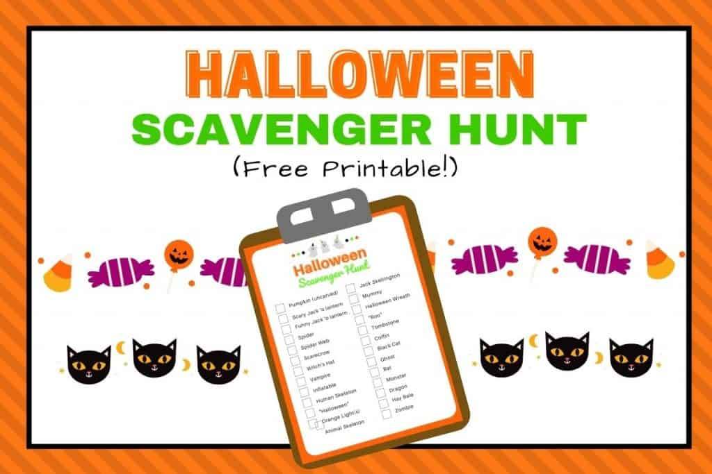 Halloween scavenger hunt for kids printable list featured image