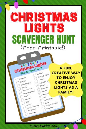 christmas lights scavenger hunt list printable pin image