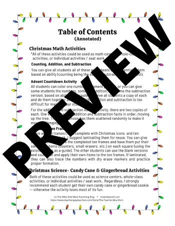 Table of Contents for the Christmas activity preschool packet page 1