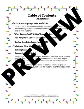 Table of Contents for the Christmas activity preschool packet