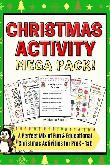 Christmas activity mega pack for preschool pin image