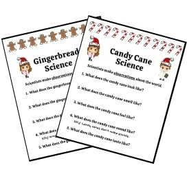 Preview of Candy Cane and Gingerbread Christmas Science Activities