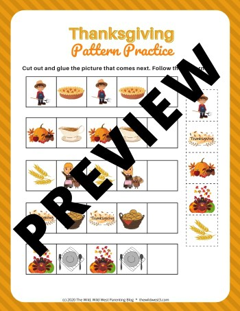 Thanksgiving Pattern worksheets picture pattern practice sample