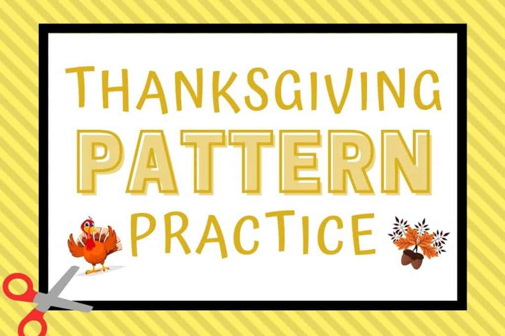 Thanksgiving pattern practice words with scissors and turkey