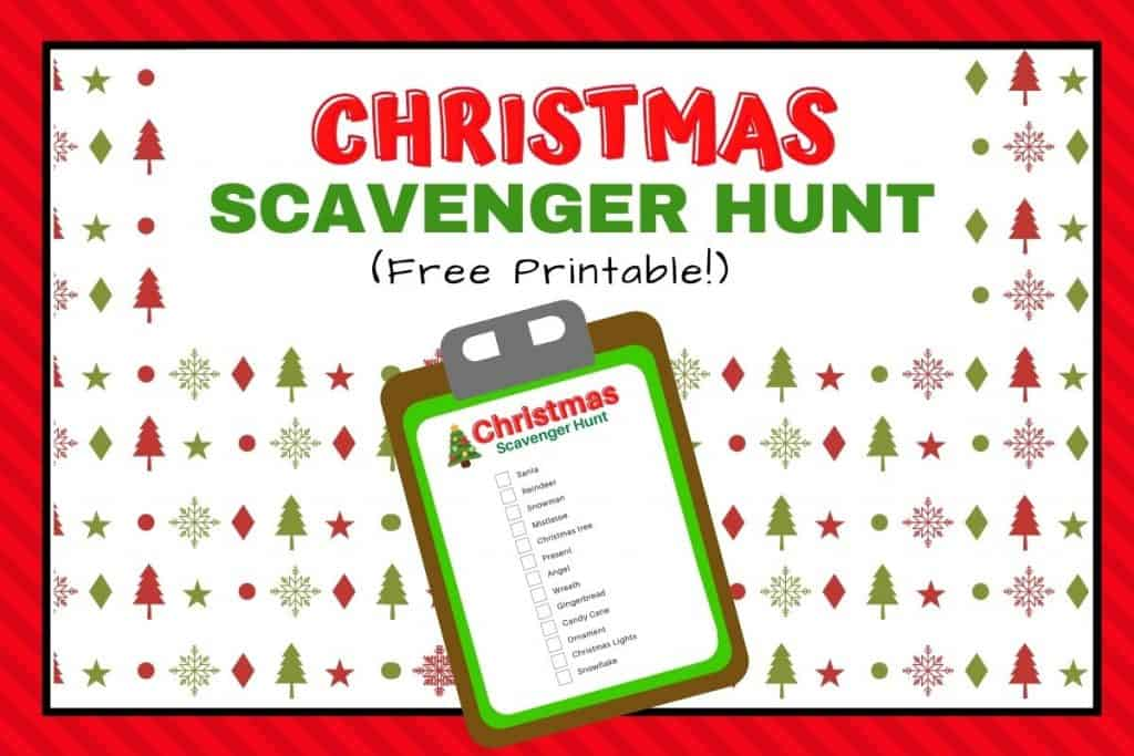 Christmas scavenger hunt for kids printable list featured image