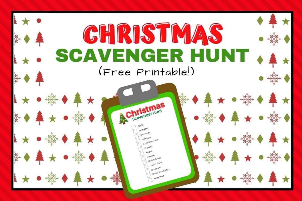 Christmas scavenger hunt for kids printable list featured image