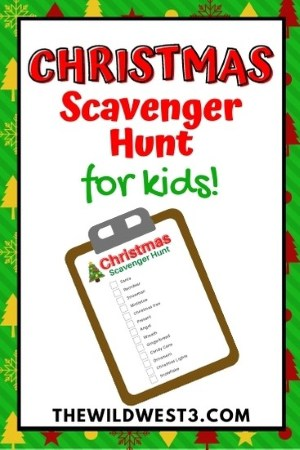 christmas scavenger hunt for kids pin image with clipboard and Christmas decorations