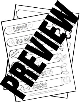 Valentine's Day Printable Bookmarks in Black and White Coloring Activity