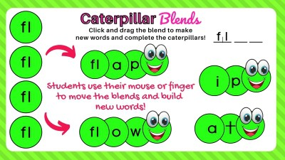 Digital Consonant Blends Activity Example slide showing the fl blend