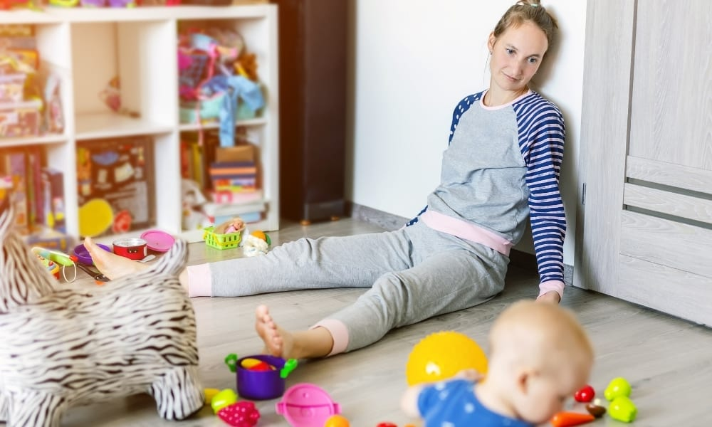 stay at home mom resting instead of cleaning