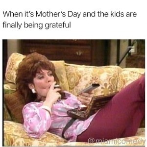 a mom resting on the couch for Mother's Day while her kids are being grateful
