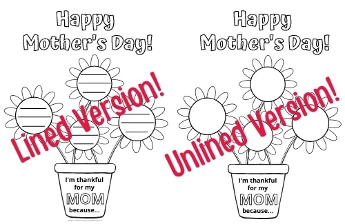 2 Versions of the Mother's Day Printable Activity pictured side by side -- one activity printable is lined, one printable is unlined
