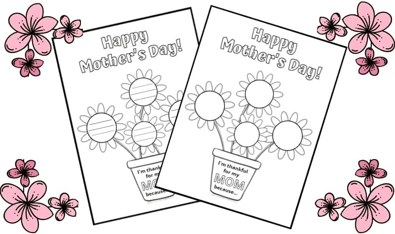 Two Printable Mother's Day Activities pictured with flowers