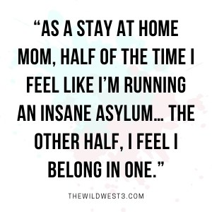 As a stay at home mom, half the time I feel like I'm running an asylum... the other half, I feel I belong in one.