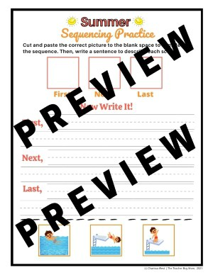 Printable Sequencing Activity for first grade and kindergarten summer themed sample preview