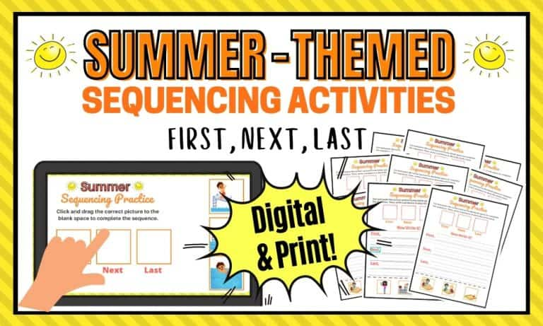Printable and Digital Sequencing Activities for Kindergarten and First Grade
