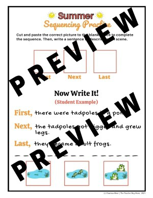 Summer Themed Printable Sequence of Events Activity Practice Practice for Kindergarten Preview Sample