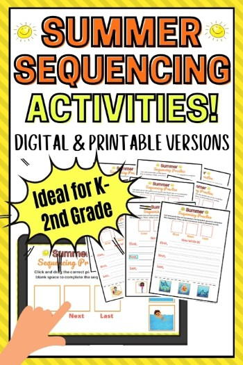Summer Sequencing Activities Digital and Printable Versions for Kindergarten First and Second Grade text printed over an ipad and printable worksheets