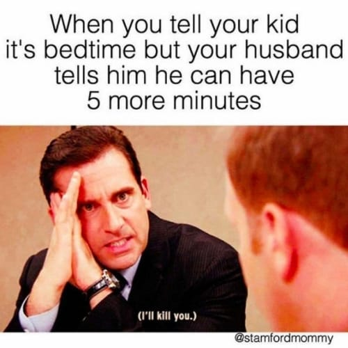 """Funny bedtime meme about Dad delaying bedtime and being told """"I'll kill you"""" by Michael Scott"""