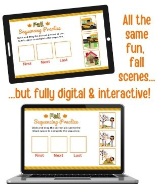 digital and printable fall sequencing activities with pictures